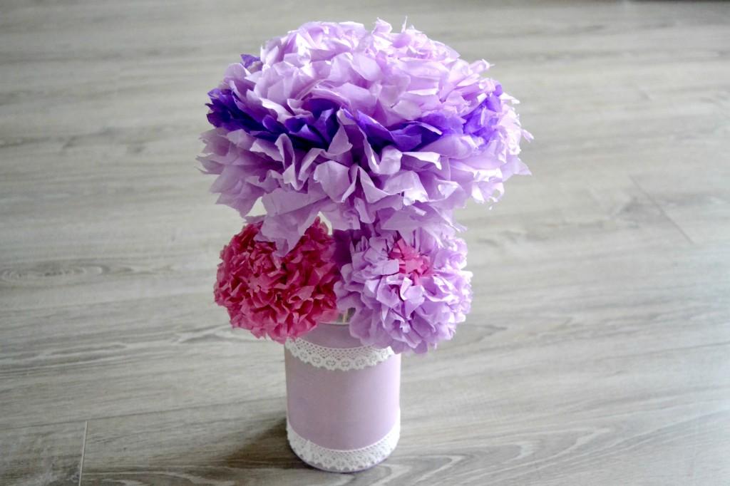 Bouquet de fleurs en papier de soie