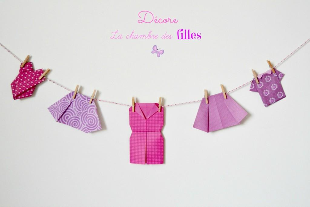 la chambre des filles v tements en origami maman. Black Bedroom Furniture Sets. Home Design Ideas