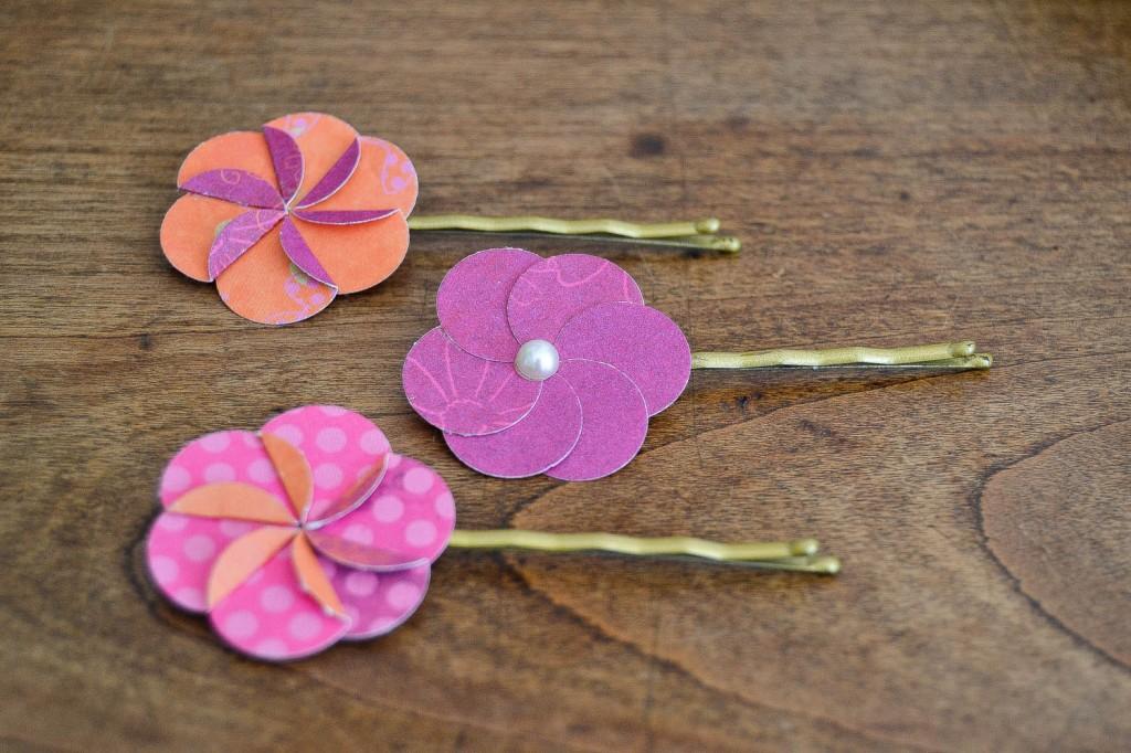 barettes fleurs en papier
