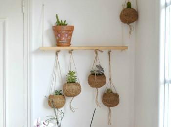 étagère suspendue succulentes macramé