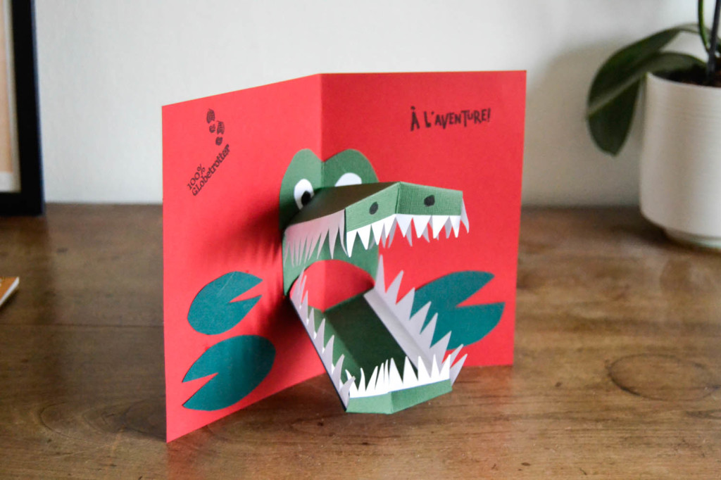 carte pop up crocodile