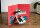 carte pop'up crocodile