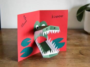 carte pop'up crocodile
