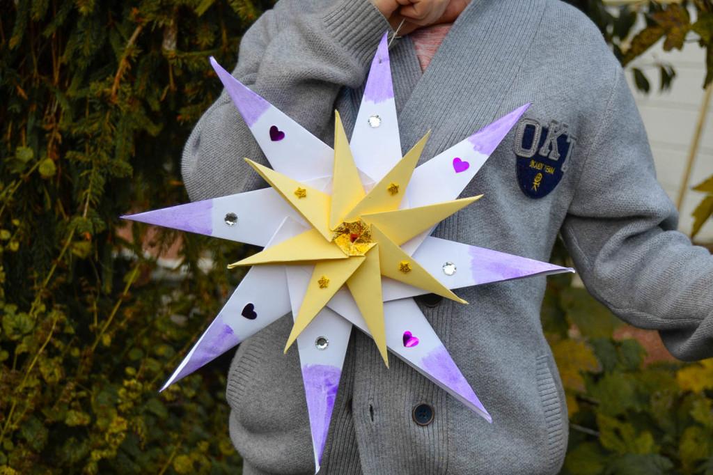 étoile en origami de Noël